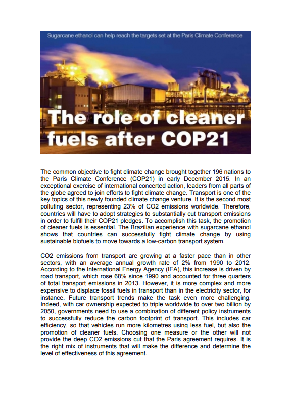 The role of cleaner fuels after COP21