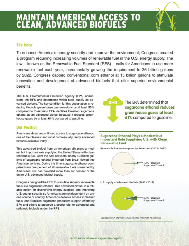 Sugarcane Biofuels Fact Sheet