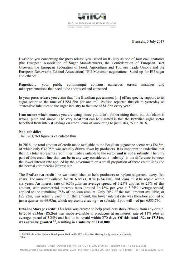 UNICA's answer to the press release on EU-Merocsur negotiations published by CEFS, CIBE, ePURE and EFFAT