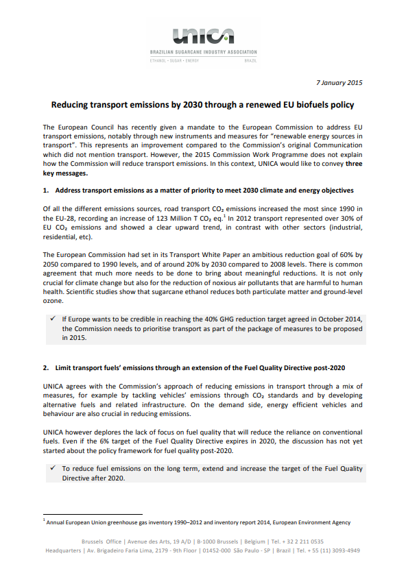 Position paper – Reducing transport emissions by 2030 through a renewed EU biofuels policy