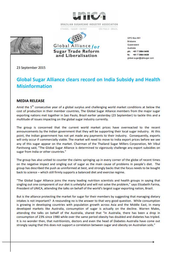 Global Sugar Alliance clears record on India Subsidy and Health Misinformation