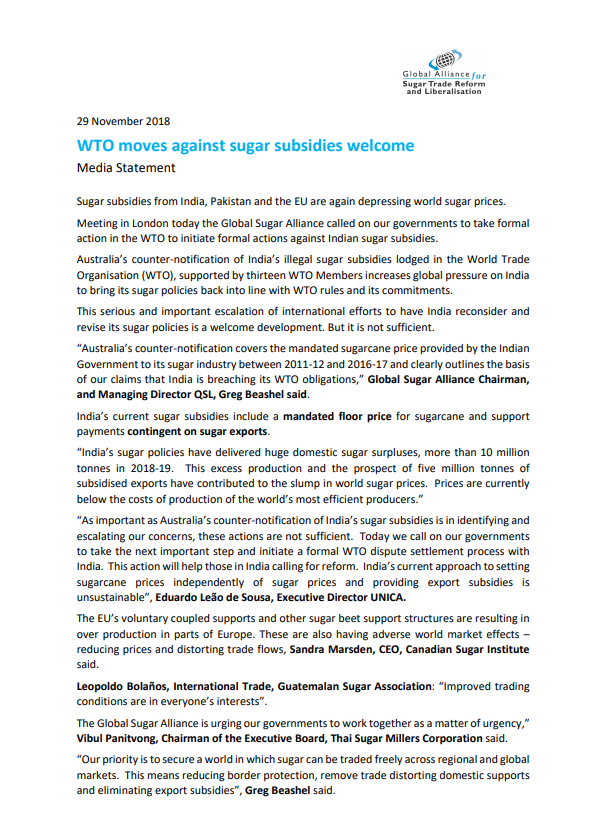 WTO moves against sugar subsidies welcome