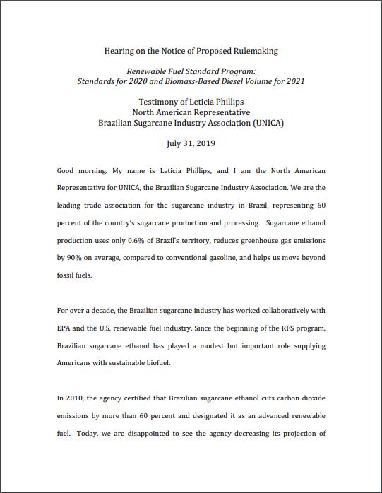 Hearing on Renewable Fuel Standard Program: Standards for 2020 and Biomass-Based Diesel Volume for 2021