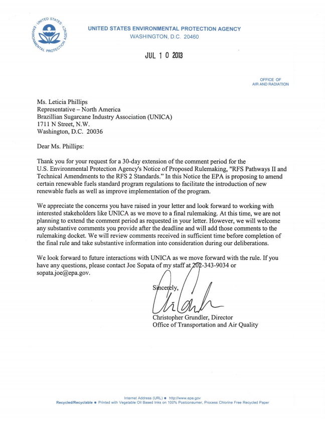 EPA Response to Extension Request for RFS Comments