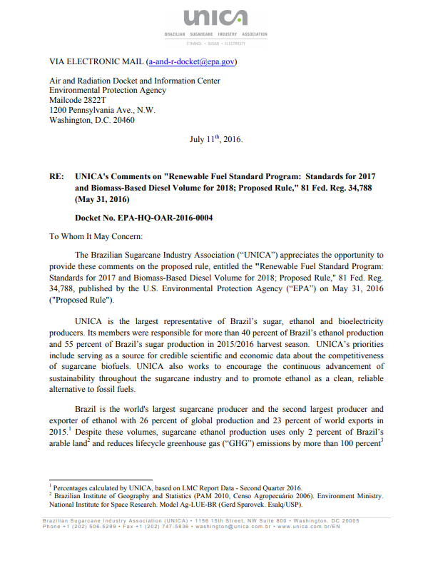 Formal comments to U.S. Environmental Protection Agency on Renewable Fuel Standard Program Proposed Rule
