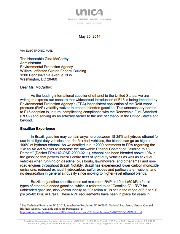Letter to EPA Addressing the Inconsistent Application of the RVP Volatility Waiver